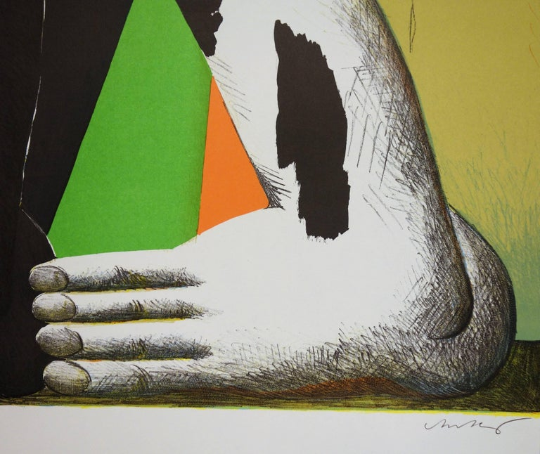 At the Foot of the Podium - Lithograph (Olympic Games Munich 1972) - Print by Horst Antes