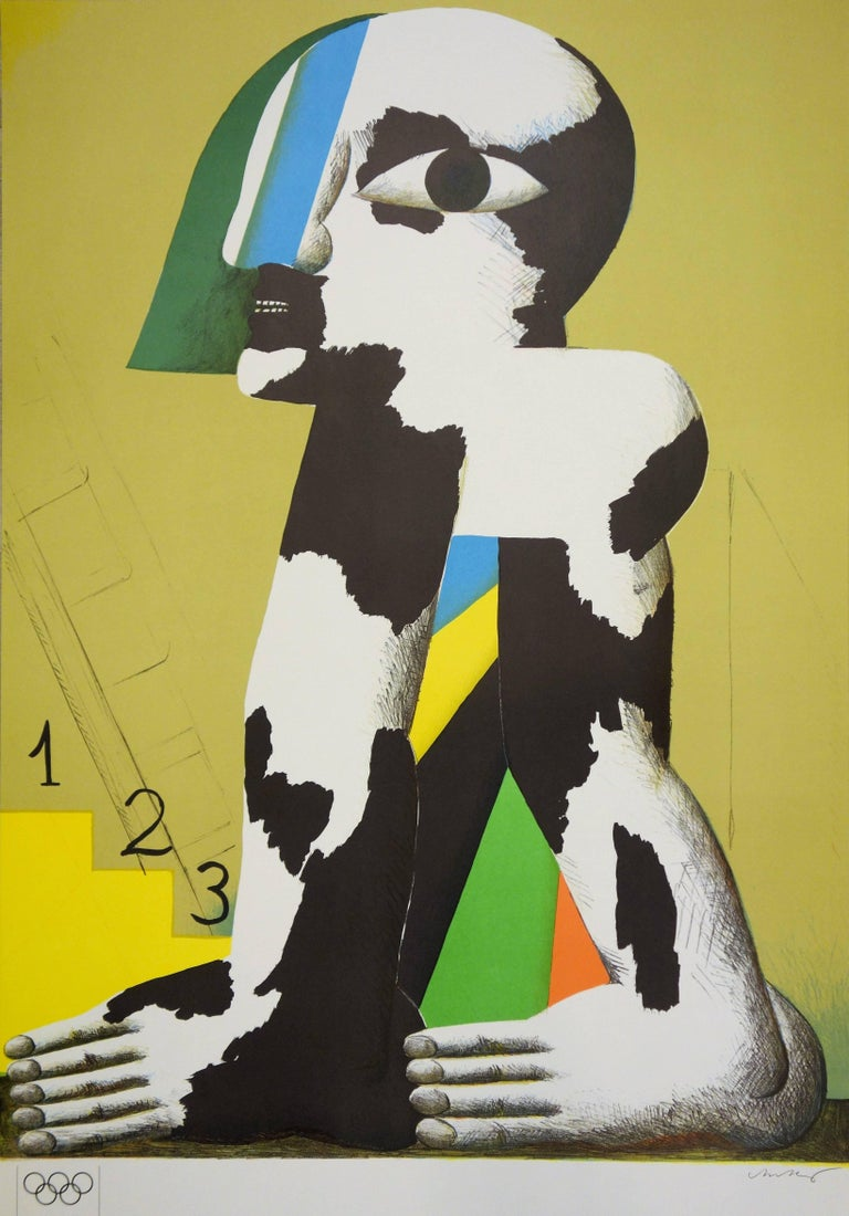 At the Foot of the Podium - Lithograph (Olympic Games Munich 1972) - Abstract Print by Horst Antes