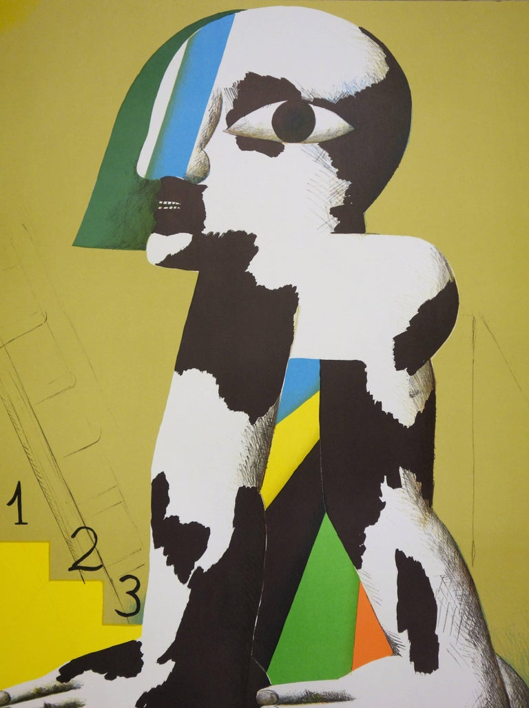 At the Foot of the Podium - Lithograph (Olympic Games Munich 1972) - Brown Figurative Print by Horst Antes