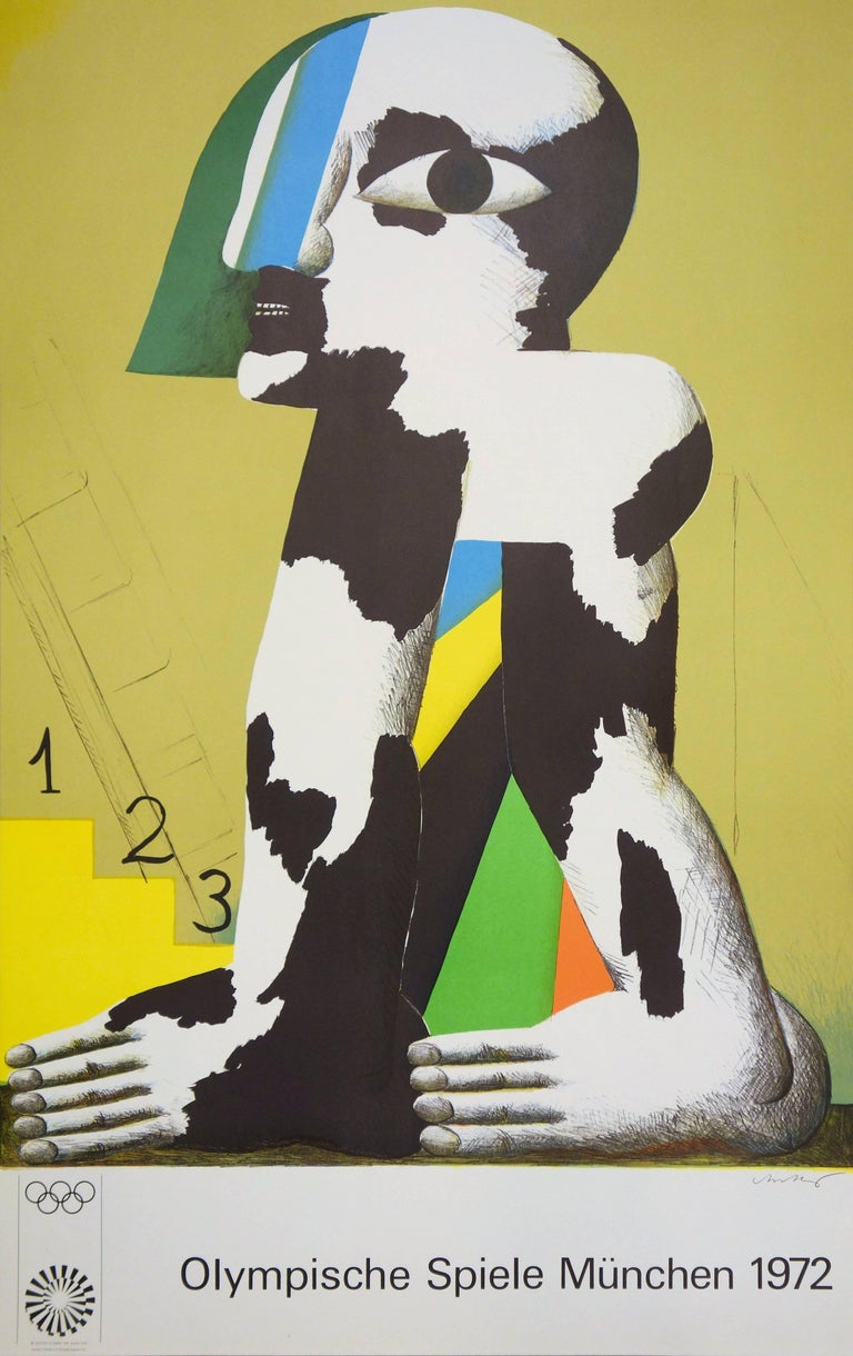 Horst Antes Figurative Print - At the Foot of the Podium - Lithograph (Olympic Games Munich 1972)