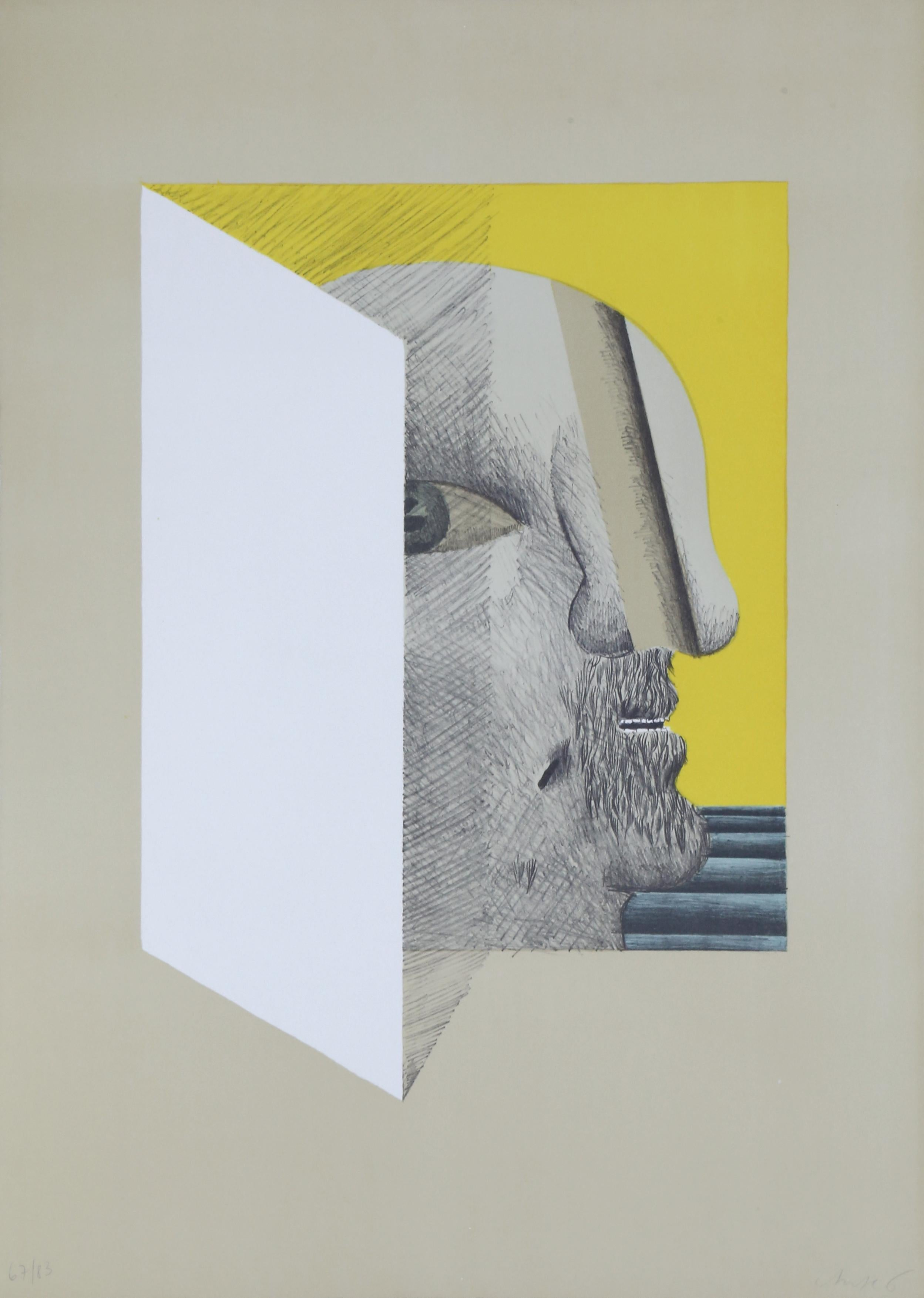 Faltblatt, Surrealist Lithograph by Horst Antes