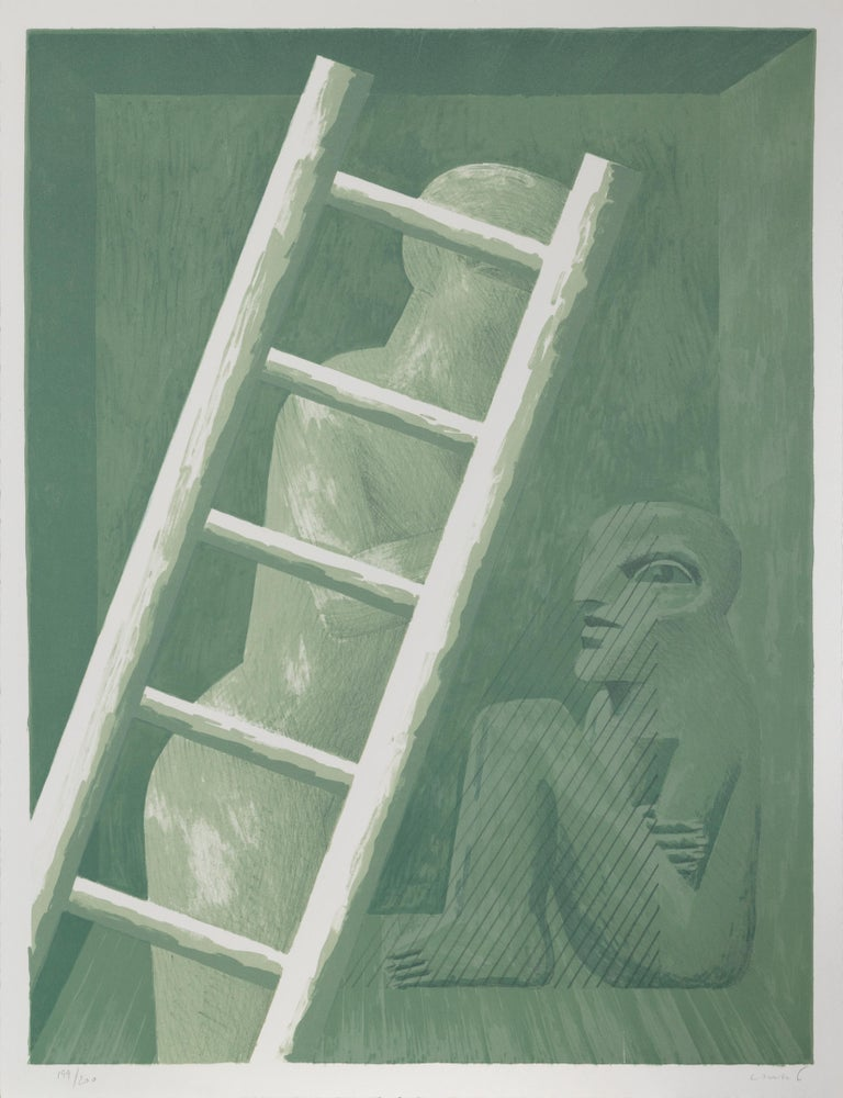 Artist: Horst Antes, German (1936 - ) Title: Figure with Ladder Medium: Lithograph, signed and numbered in pencil Edition: 199/200 Image:  24 x 18.5 inches Size: 25.5 x 19.5 in. (64.77 x 49.53 cm)