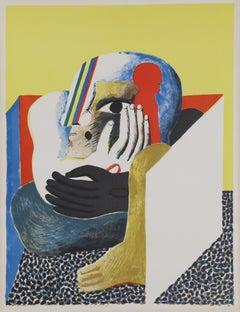 Hockende Figur im Kasten, Surrealist Lithograph by Horst Antes