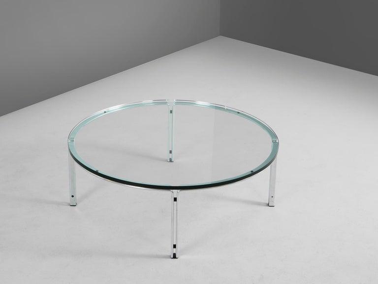 German Horst Brüning for Kill International Chrome and Glass Cocktail Table For Sale