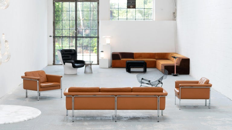Horst Brüning, Lounge 3-Seat Sofa for Kill International, 1967 Germany Leather In Good Condition For Sale In Munster, NRW