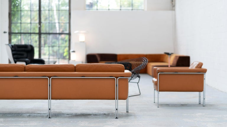 Steel Horst Brüning, Lounge 3-Seat Sofa for Kill International, 1967 Germany Leather For Sale