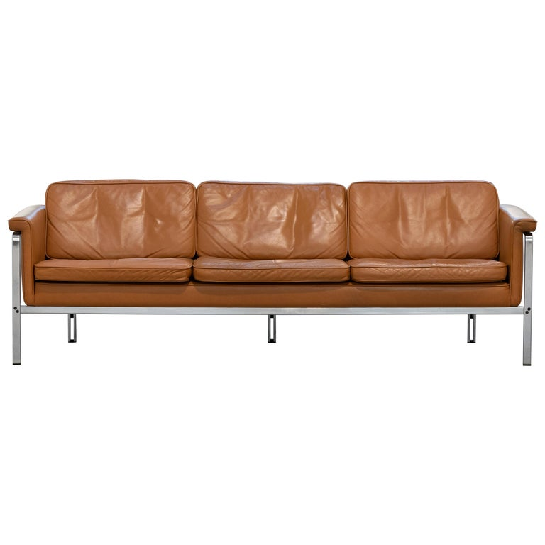 Horst Brüning, Lounge 3-Seat Sofa for Kill International, 1967 Germany Leather For Sale