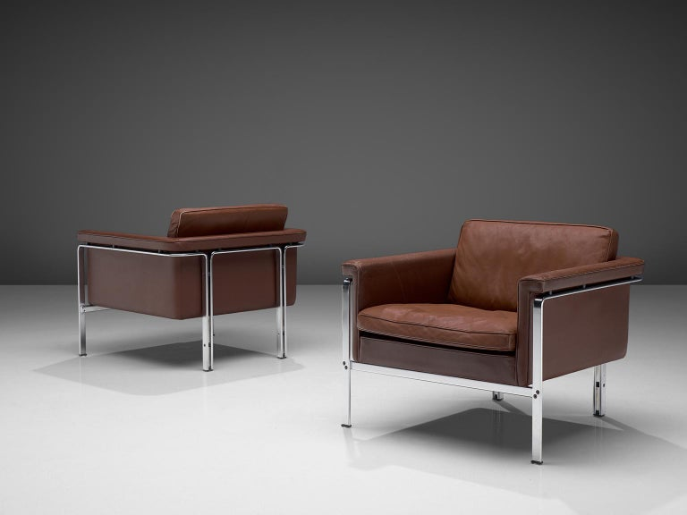 Horst Bruning for Kill International, lounge chairs model 6910, in leather and steel, Germany, 1967.