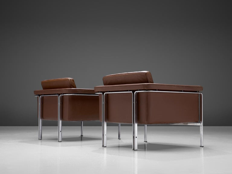 Mid-Century Modern Horst Bruning Lounge Chairs in Brown Leather For Sale
