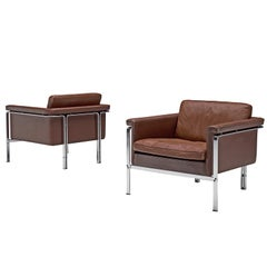 Horst Bruning Lounge Chairs in Brown Leather