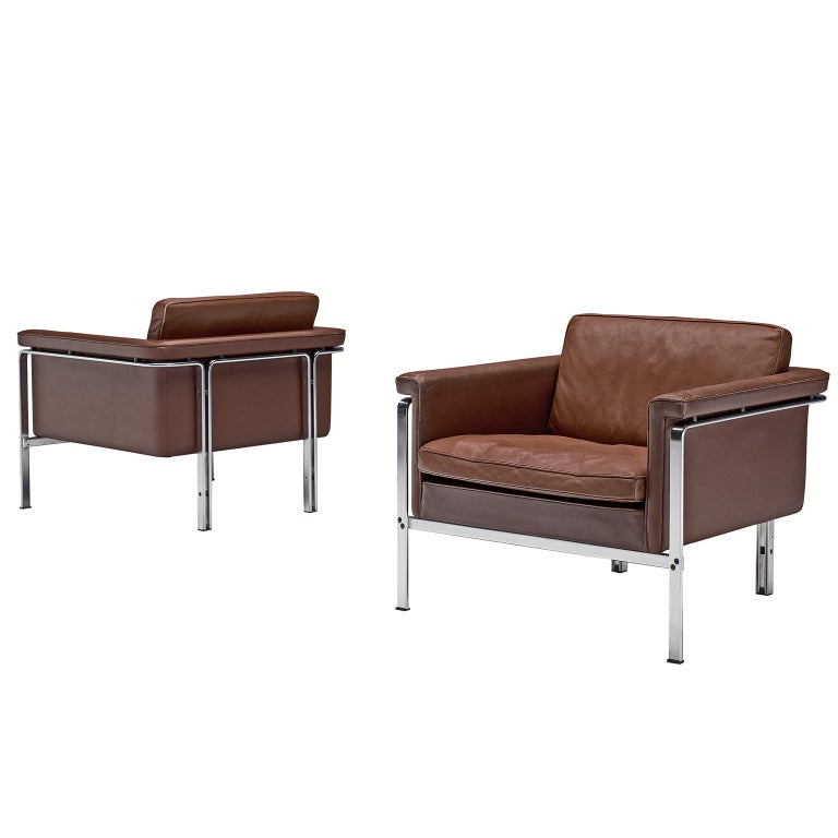 Horst Bruning Lounge Chairs in Brown Leather For Sale
