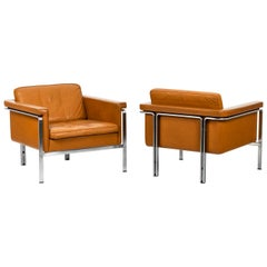 Horst Brüning, Pair of Armchairs in Leather, 1960's