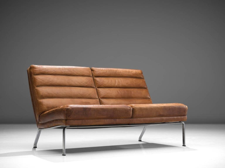 Two Seat Sofa In Patinated Brown Leather Germany 1960s For Sale At 1stdibs
