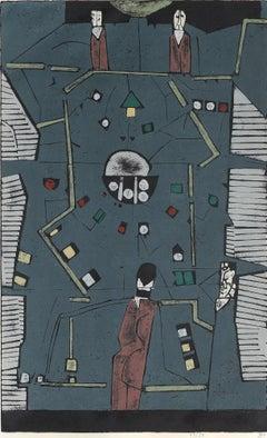 Horst Janssen, Spieltisch, geplante Variation, 1961 / 1987, großer  Holzschnitt