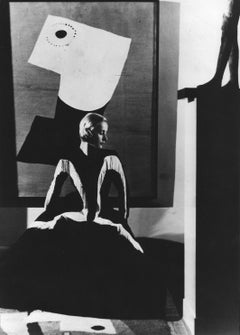 Art in Fashion: Model in Balenciaga in front of painting by Miro
