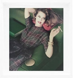 Jane Fonda Modeling, Plaid Wool Dress, CA, 1959 Color Photograph