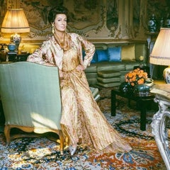 Marella Agnelli, Valentino Dress at Villar Perosa, Extra Large Color Photograph