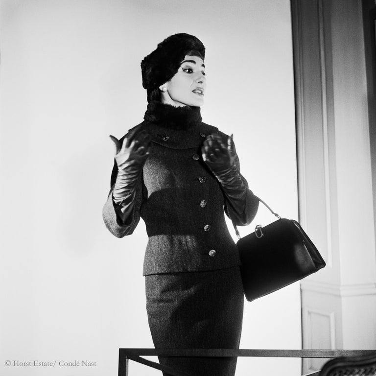 Maria Callas, 1952, 9 archival pigment prints matted in embossed a portfolio box - Gray Black and White Photograph by Horst P. Horst