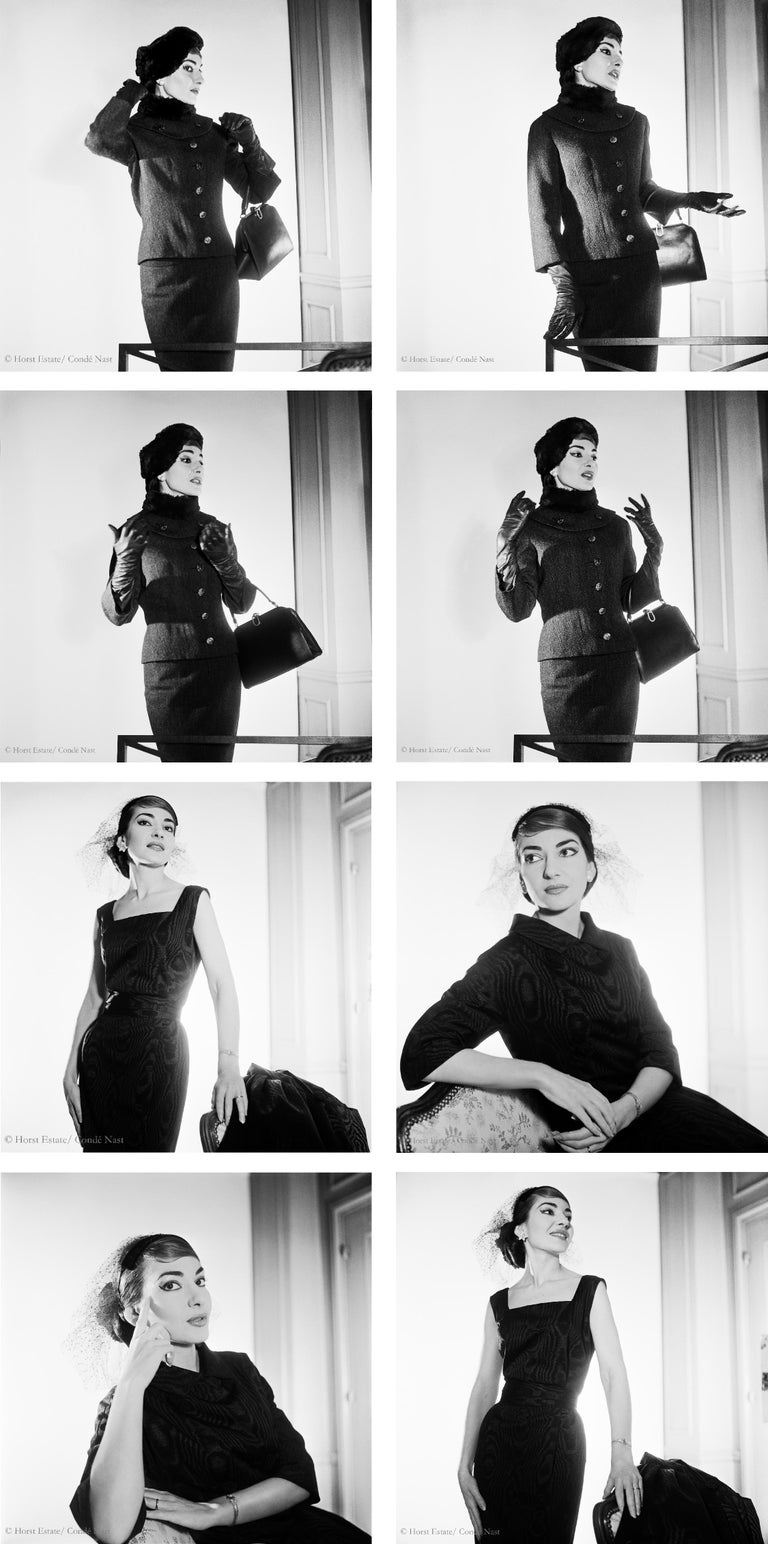 Horst P. Horst Black and White Photograph - Maria Callas, 1952, 9 archival pigment prints matted in embossed a portfolio box