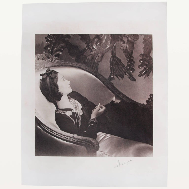 Art Deco Horst P Horst Signed Photograph of Coco Chanel, Platinum Palladium Print, 1937 For Sale