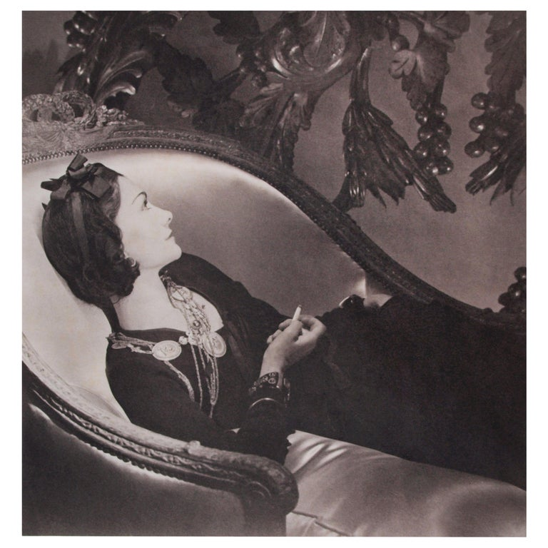 Horst P Horst Signed Photograph of Coco Chanel, Platinum Palladium Print, 1937 For Sale