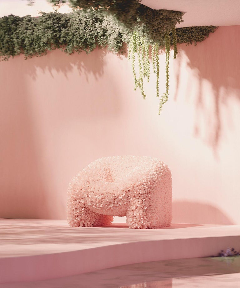 Spanish Hortensia Chair, Pink Sofa Abstract Flower Round Dreamy by Reisinger Andres