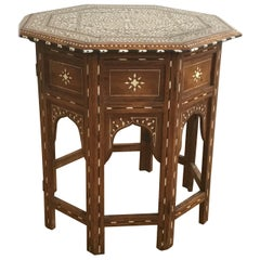 Hoshiapur Bone and Ebony Inlaid Occasional Table