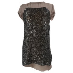 Hoss grey sequins silk mini dress