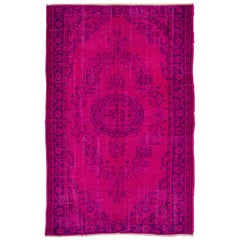 6x9.2 ft Ft Vintage Handmade Turkish Oushak Rug Over-dyed in Hot Pink and Purple
