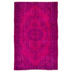 Hot Fuchsia Pink and Purple Color Overdyed Vintage Turkish Rug