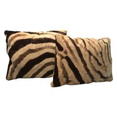 Hot Pair of Custom Vintage Burchell Zebra Hide Pillows