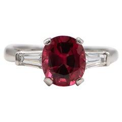 Hot Pink 2.80 Carat Spinel Ring with Diamonds 0.28 Carat