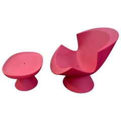 Hot Pink Karim Rashid Kite Chair and Mini Kite Ottoman