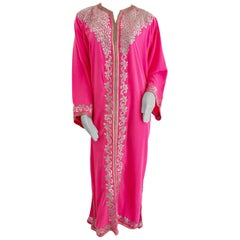 Hot Pink Moroccan Caftan with Silver Embroidered Maxi Dress Kaftan Size L