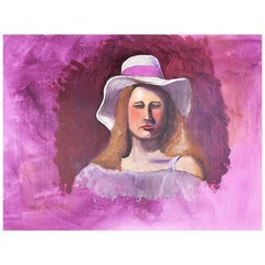 Hot Pink Portrait Painting of a Woman, 1970s