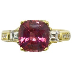 Hot Pink Sapphire Ring 3-Stone 18 Karat Gold 3.43 Carat Cushion Cut Diamonds