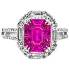 Hot Pink Sapphires 1.85 Carat Ring with Diamonds 0.98 Carat