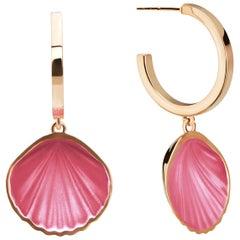 Hot Pink Shell Pop Hoop, 14 Karat Yellow Gold Pink Enamel Hoop Earring
