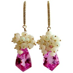 Hot Pink Topaz Shield Briolettes Ethiopian Opal Cluster Earrings