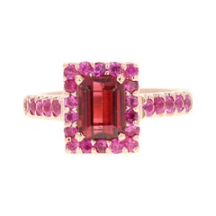 Hot Pink Tourmaline Pink Sapphire 14 Karat Rose Gold Ring