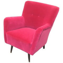 Hot Pink Velvet Theo Ruth Lounge Chair for Artifort