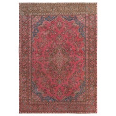 Hot Pink Vintage Persian Mashad Worn Down Hand Knotted Pure Wool Oriental Rug