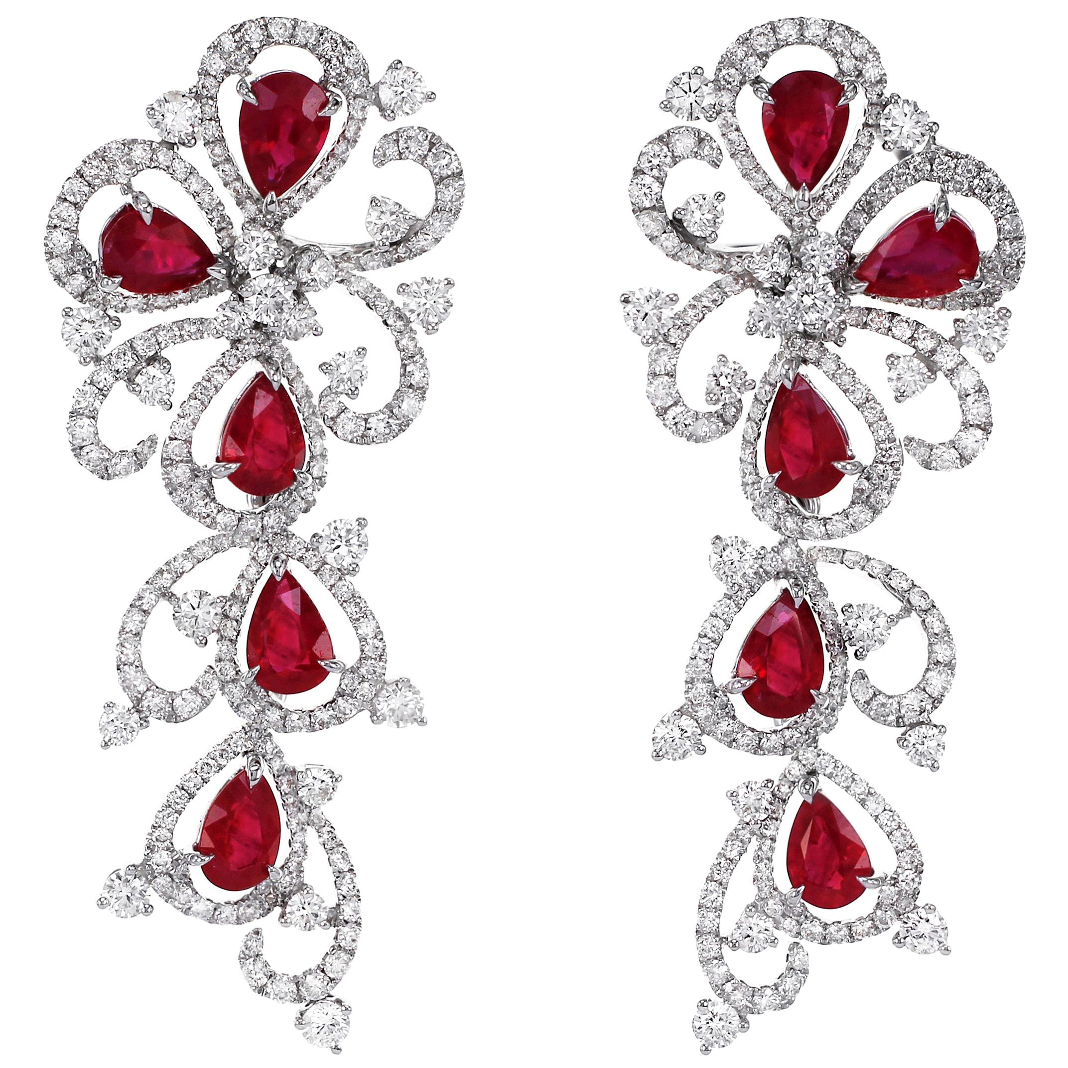 Hot Red Ruby and Diamond Dangling Cocktail Earring