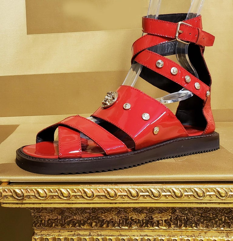 Men's HOT!!! S/S'12 Look #32 VERSACE RED LEATHER SANDALS SHOES 44-11 For Sale