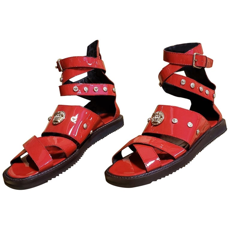 HOT!!! S/S'12 Look #32 VERSACE RED LEATHER SANDALS SHOES 44-11 For Sale