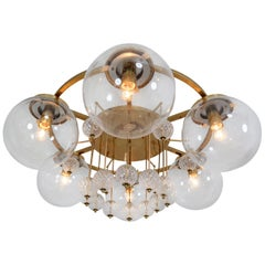 Hotel Chandelier, in Brass and Glass, European, 1970s