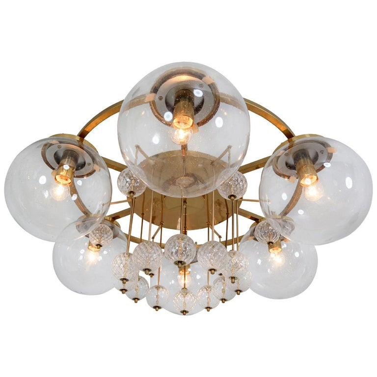 Hotel Chandelier, in Brass and Glass, European, 1970s For Sale
