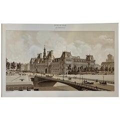 Hotel De Ville Paris en Construction Charpentier Paper Lithograph 1870s Print