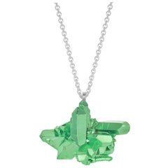 HotRocks Green Cluster Pendant in Recycled Silver