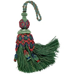 Passmenterie Key Tassel or Gland Cle Hand Tied in Verte-Houlés of Paris
